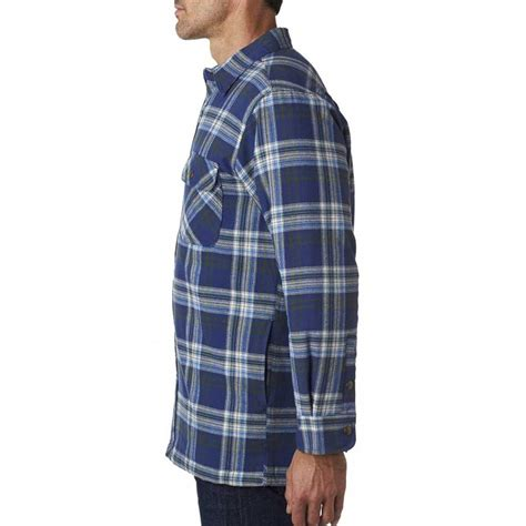 Mens Flannel Shirt Jacket With Quilted Lining by Backpacker S Blue Green Flannel Shirt Jacket With Quilted Lining