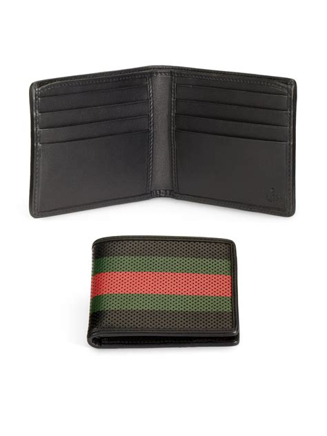 Perforated Wallet lyst gucci perforated wallet in black for