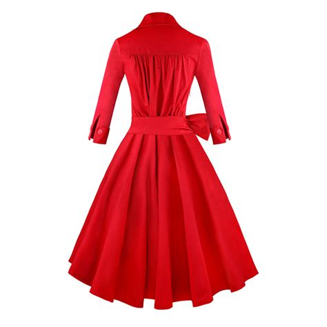 red swing dress vintage women s red deep v neck half sleeve vintage casual swing