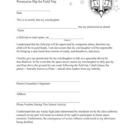 prank letter templates field trip permission slip printable prank