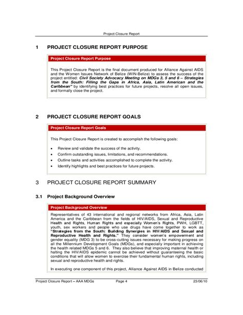 end of project report template project closure report free