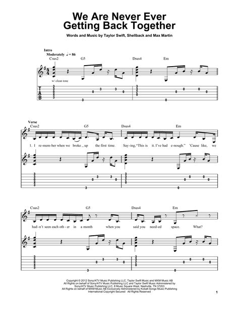 taylor swift chords back together we are never ever getting back together by taylor swift