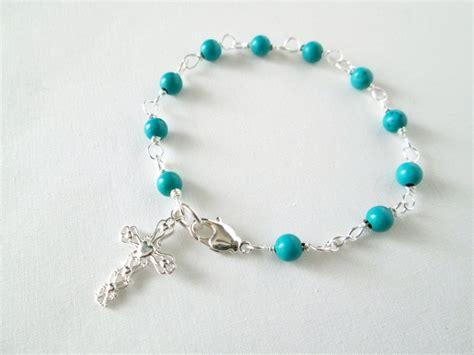 rosary bead bracelet rosary bracelet turquoise rosary bracelet cross bracelet