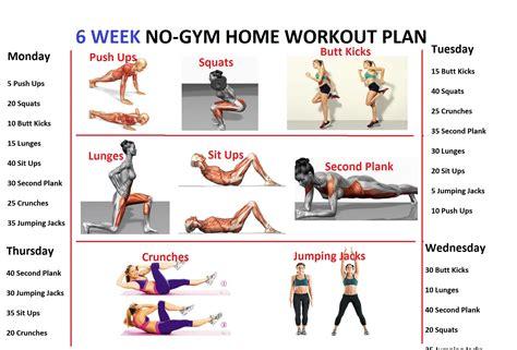 home gym workout plan 6 week no gym home workout plan fitness