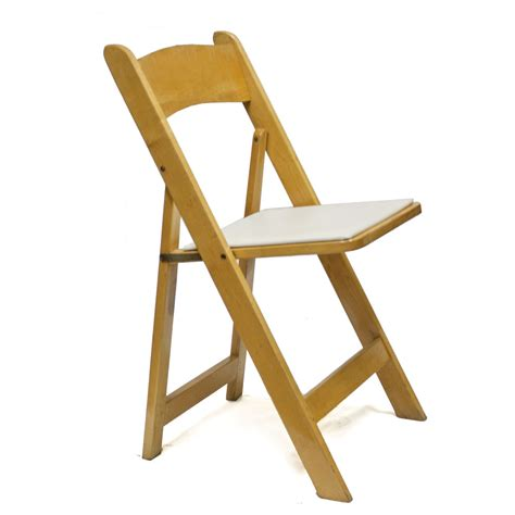 natural wood padded folding chair   fine linens & event