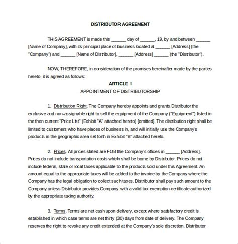 distributorship agreement template distribution agreement template 15 free word pdf