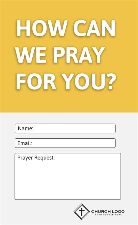 prayer request card template modern church connection cards 5 free templates