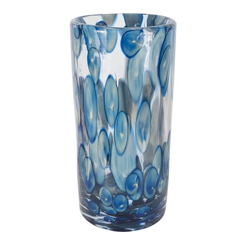 Cylindrical Glass Vases by Cylindrical Murano Glass Vase With Blue And White Dot