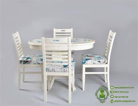 Meja Makan Marmer Bundar meja makan bundar minimalis putih kursi 4 jati pribumi