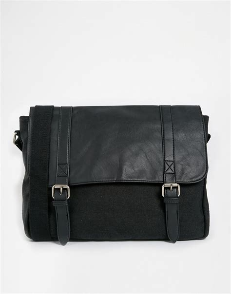 Asos Satchel In Black Leather asos canvas and faux leather satchel in black asos