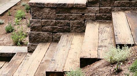 wood wood steps and allan block wall landscape steps