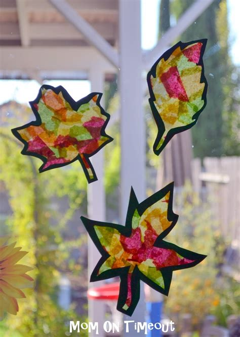 Tissue Paper Leaf Craft - stained glass leaves craft activities for the