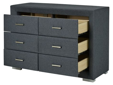 Commode Tissu by Commode Basse Capitole 6 Tiroirs Tissu Anthracite Mdf