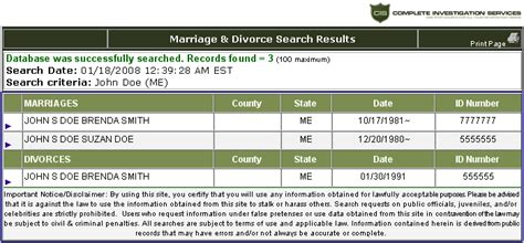 Divorce Date Records Marriage And Divorce Records