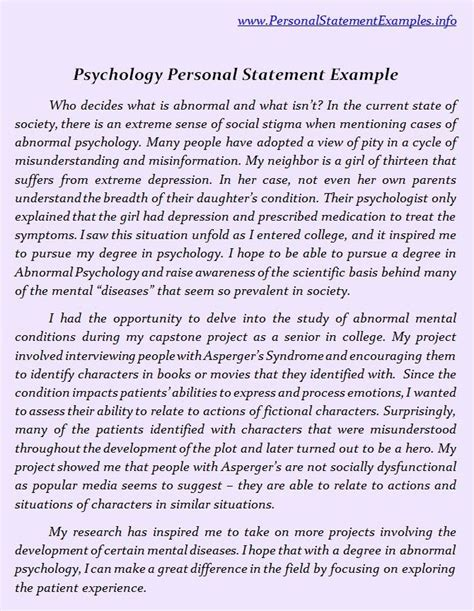 Thesis Statement For Developmental Psychology by Psychology Personal Statement Exles Http Www