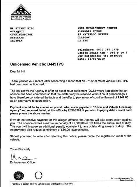 Official Letter Reply Letter From Dvla 11 June 2009 The Sovereign State Of
