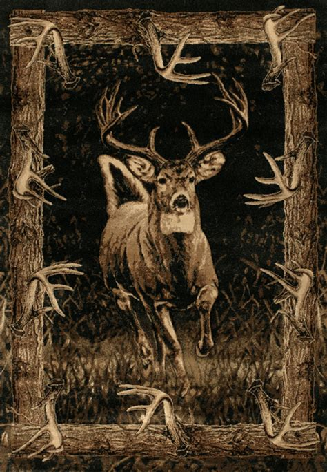 buck woods deer rug 2 x 3