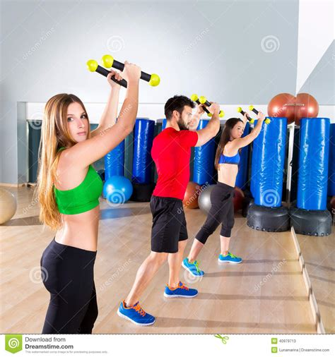 zumba exercise tutorial zumba dance cardio people group at fitness gym stock photo