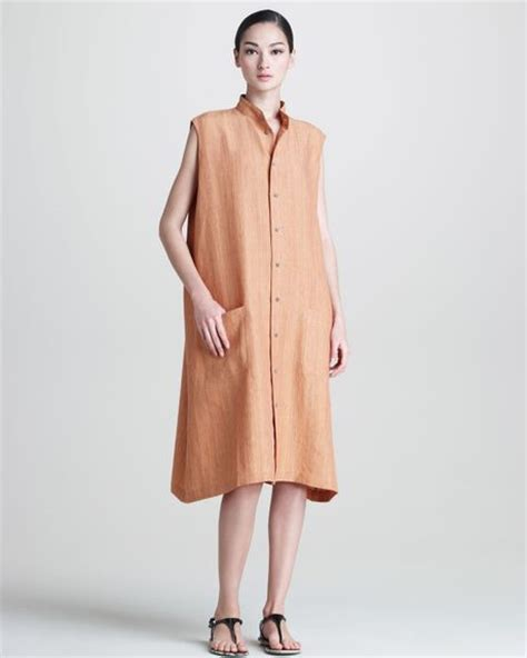 Aline Button Dress eskandar womens sleeveless aline linen buttonfront dress in orange lyst