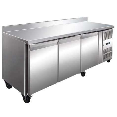 bench fridge fe3100tfsp three door bench fridge with splashback 386l