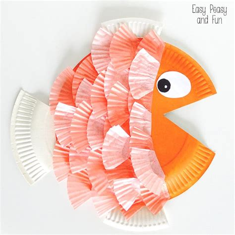 How To Make Fish Out Of Paper Plates - paper plate cupcake liner fish easy peasy and