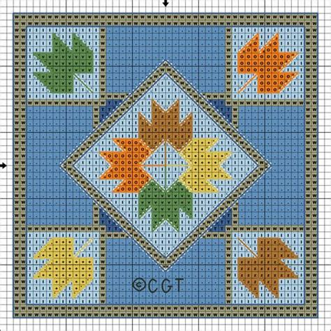 Quilt Patterns Free Printable by Free Maple Leaf Mini Quilt Cross Stitch Pattern Free