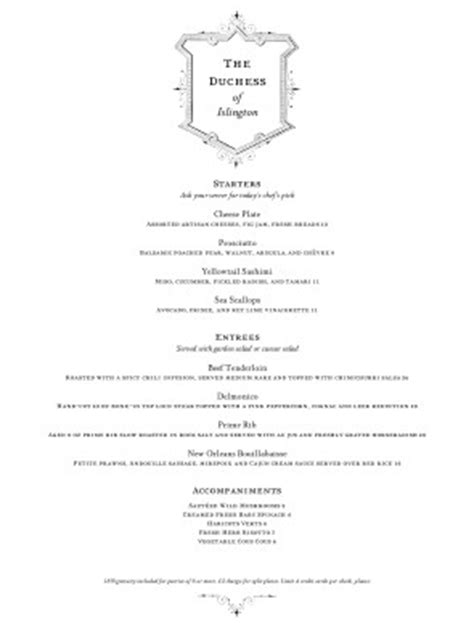 customize british fine dining menu