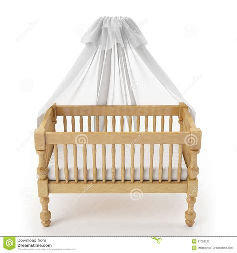 White Wooden Cribs by Wooden Baby Crib With Canopy Isolated On White Background