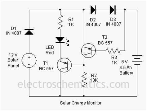 Simple Solar L Circuit by Simple Circuit Schematic Solar Charger Monitor