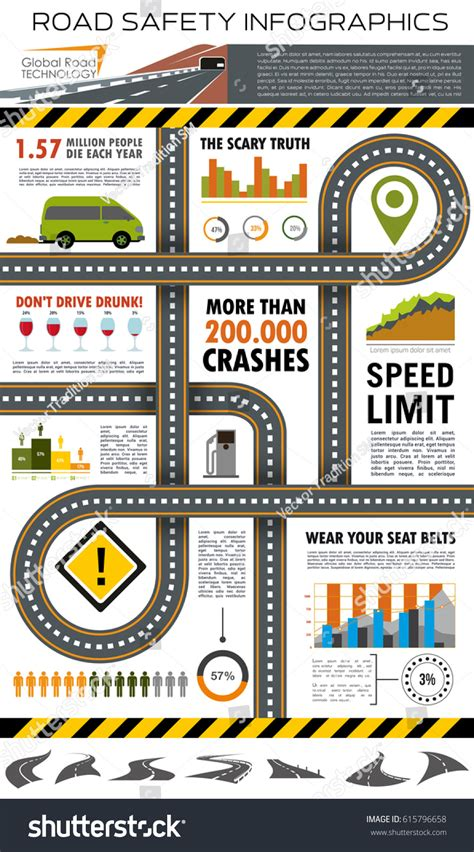 crash card template road traffic safety infographic template highway stock