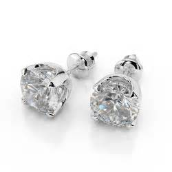 dimond earings 1 carat stud earrings cut d vs2 14k white gold