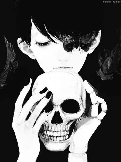 askfm skeletale dark girl anime skull black and white dark