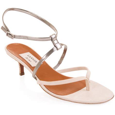 kitten heel sandals lanvin two tone kitten heel sandals in silver lyst
