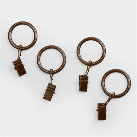 curtain pole rings with clips walnut curtain rod clip rings set of 10 world market