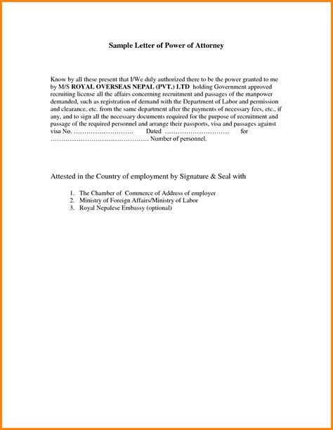 Power Of Attorney Cover Letter 7 Sle Letter Granting Power Of Attorney Ledger Paper