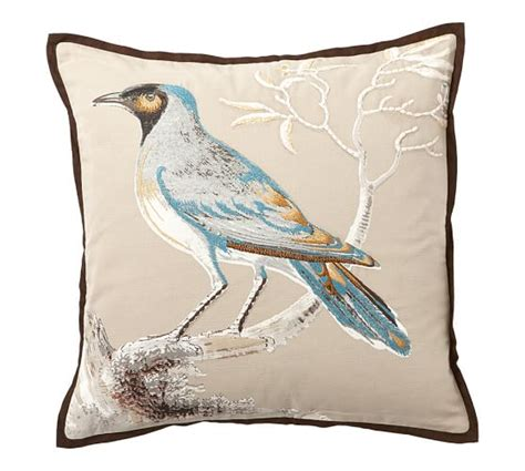 scientific bird embroidered pillow covers pottery barn