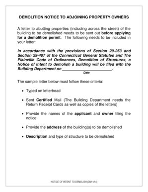 fillable demolition notice adjoining property