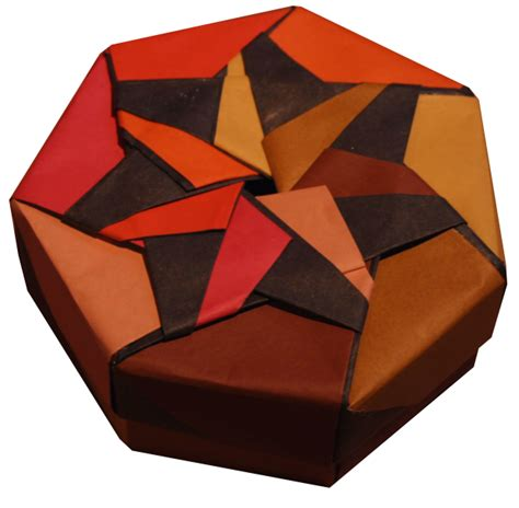 Box Paper Folding - heptagonal origami box folding
