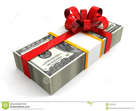 money gift pack of 100 dollars with red ribbon bow stock