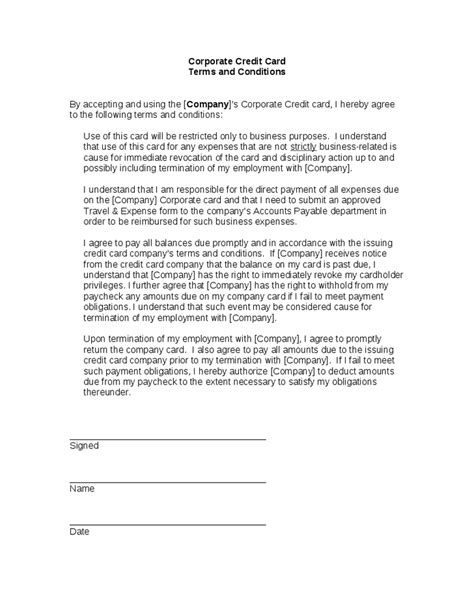 corporate credit card agreement template terms of agreement contract template business contract
