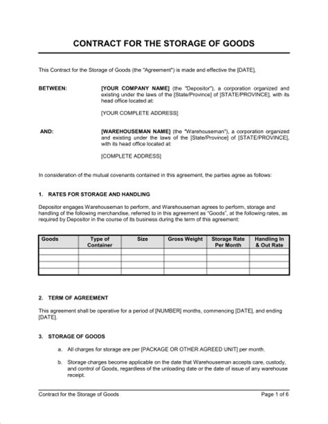 warehouse agreement template contract for the storage of goods template sle form