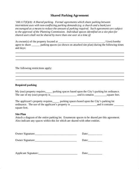 11 Parking Agreement Templates Sle Templates Parking Template