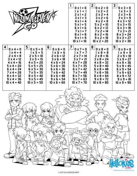 Imagenes Para Colorear Tablas De Multiplicar | dibujos para colorear tablas de multiplicar inazuma eleven
