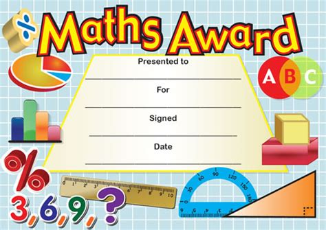 maths award certificates