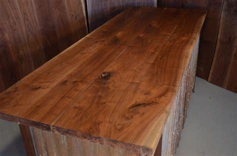 walnut slab custom executive desk with corrugated steel base