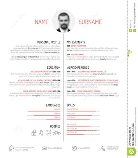 Plantilla De Curriculum Vitae En Italiano Plantilla Cv Curriculum Vitae Ilustraci 243 N Vector Imagen 50265774