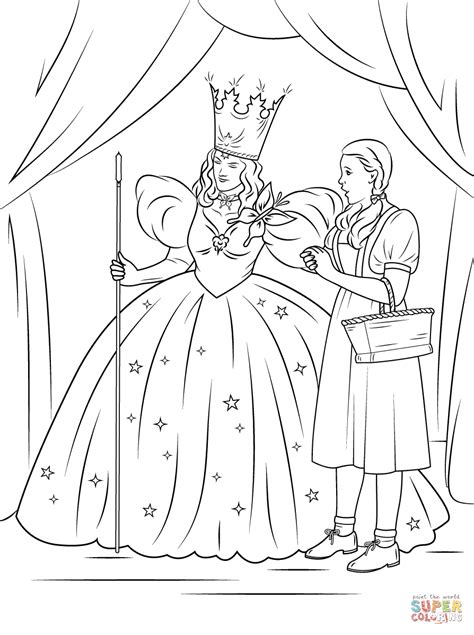 dorothy with glinda the good witch of the north coloring