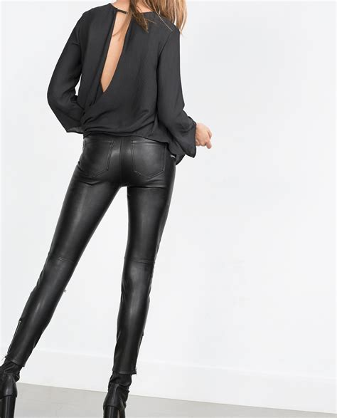 zara synthetic leather trousers with zara faux leather biker trousers in black lyst