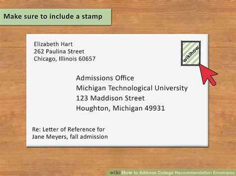 address college recommendation envelopes steps