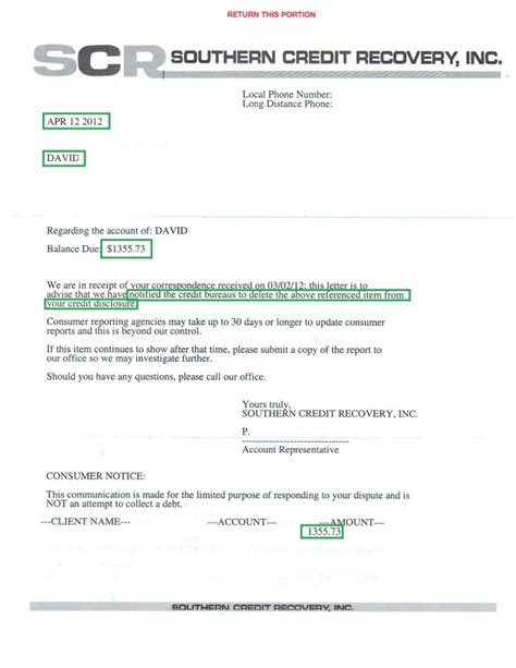 Credit Repair Letter Of Deletion Collection Deletion Letter For 1355